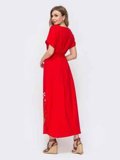 Красное платье-макси из льна с вышивкой 46736, фото 2