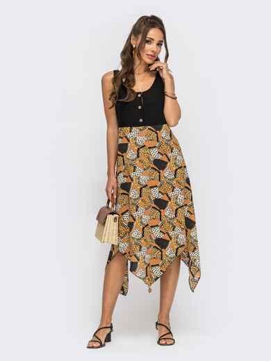 Платье без рукавов с принтованной асимметричной юбкой коричневого цвета 53839, фото 1
