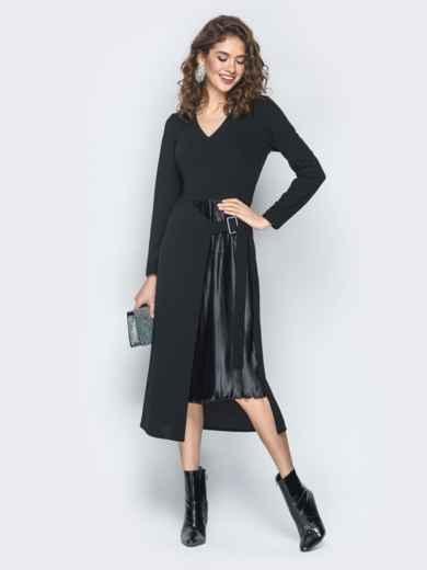 Платье из креп-дайвинга с плиссированной вставкой черное - 18745, фото 2 – интернет-магазин Dressa