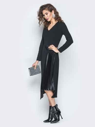 Платье из креп-дайвинга с плиссированной вставкой черное - 18745, фото 3 – интернет-магазин Dressa