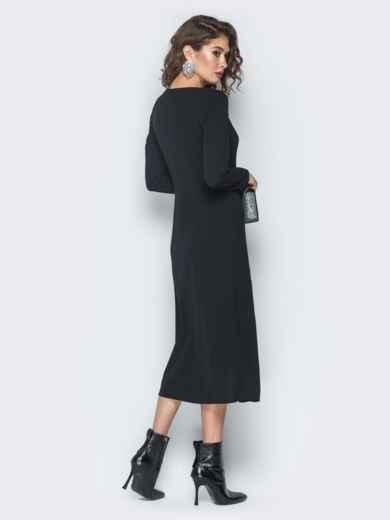 Платье из креп-дайвинга с плиссированной вставкой черное - 18745, фото 4 – интернет-магазин Dressa