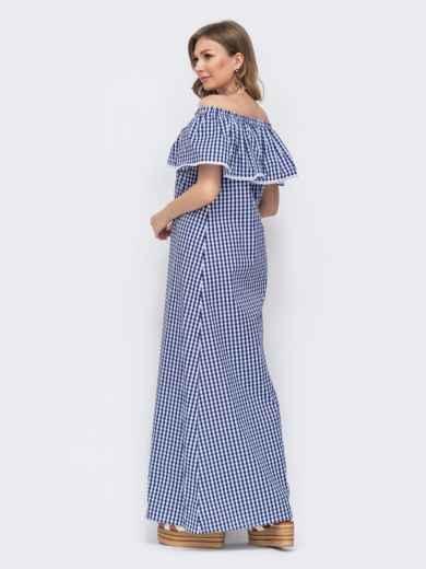 Платье-макси в клетку с открытыми плечами голубое 46746, фото 2