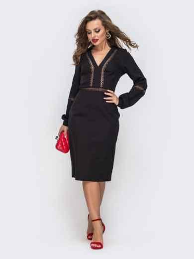 Платье-миди с V-вырезом и перфорацией чёрное 43047, фото 2