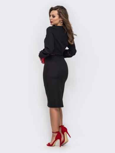 Платье-миди с V-вырезом и перфорацией чёрное 43047, фото 3