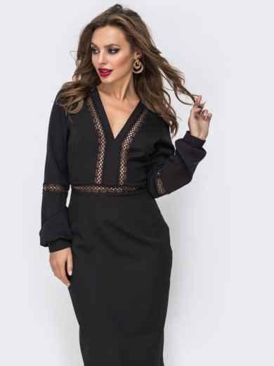 Платье-миди с V-вырезом и перфорацией чёрное 43047, фото 4