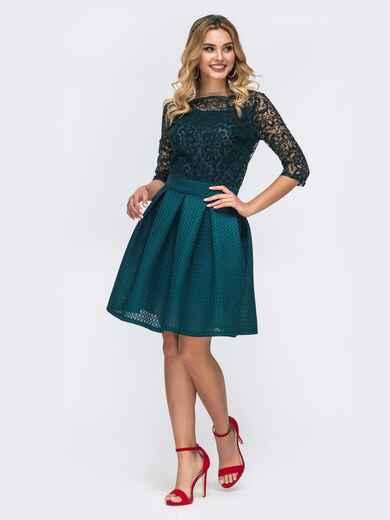 Платье с кружевным верхом и бантовыми складками на юбке зеленое 43154, фото 1