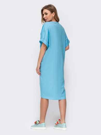 Платье с вышивкой по низу и удлиненной спинкой голубое 46753, фото 3
