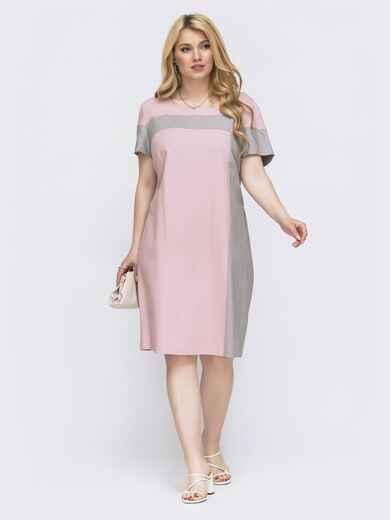 Приталенное платье батал с контрастными вставками розовое 46146, фото 1