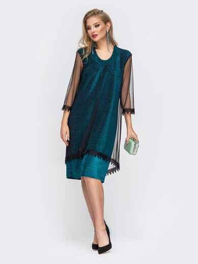 Приталенное платье из люрекса с фатиновым чехлом зеленое 42867, фото 1