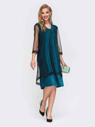 Приталенное платье из люрекса с фатиновым чехлом зеленое 42867, фото 2