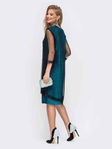 Приталенное платье из люрекса с фатиновым чехлом зеленое 42867, фото 3