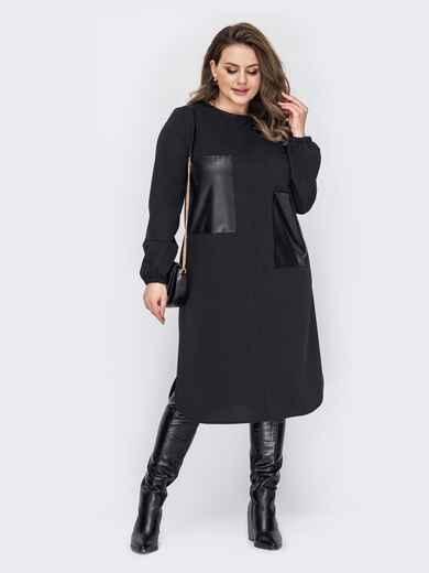 Прямое платье батал с накладными карманами из эко-кожи черное 53357, фото 1