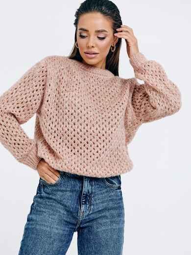 Пудровый свитер ажурной вязки с перфорацией 53048, фото 1