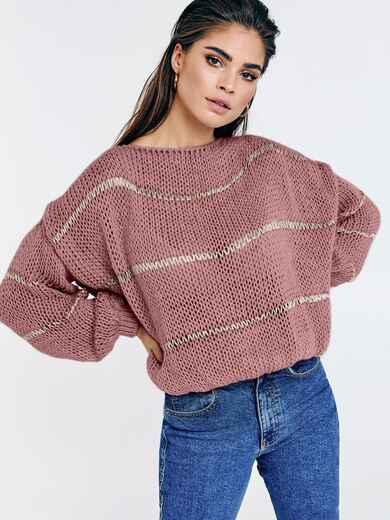 Пудровый вязаный свитер свободного кроя в полоску 53047, фото 1