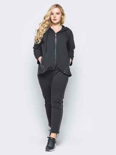 Спортивный костюм из двунитки черный - 15765, фото 1 – интернет-магазин Dressa