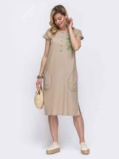 Свободное платье из льна с вышивкой серое 46740, фото 1