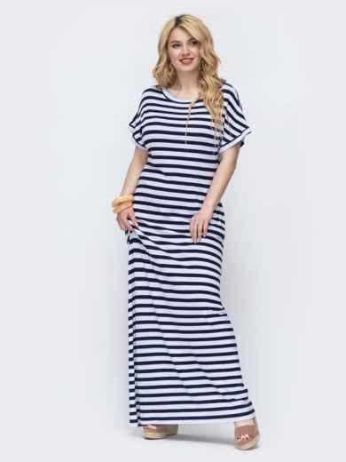Темно-синее платье в белую полоску батал 46733, фото 1