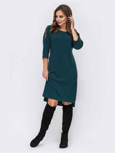 Трикотажное платье батал с удлиненной спинкой зеленое 42796, фото 1