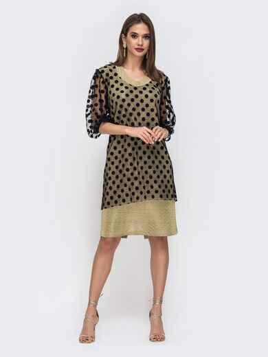 Желтое платье из люрекса с фатиновым чехлом в горох 42864, фото 1
