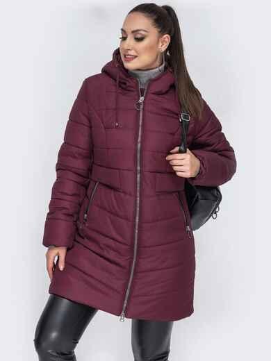 Зимняя куртка приталенного кроя бордовая - 44056, фото 1 – интернет-магазин Dressa