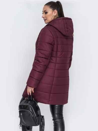 Зимняя куртка приталенного кроя бордовая - 44056, фото 2 – интернет-магазин Dressa
