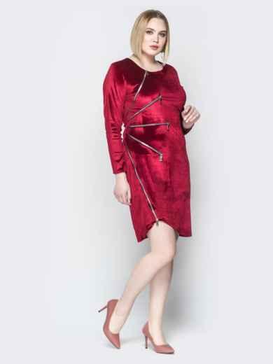 Велюровое платье с молниями и асимметричным низом красное 19956, фото 2