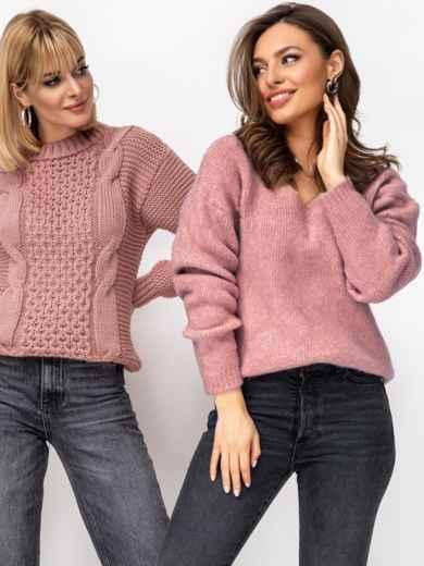 Тёплый свитер с V-образным вырезом горловины розовый 52911, фото 1
