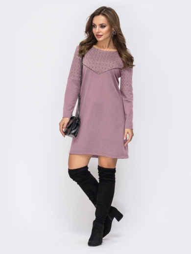 Платье из двунитки с контрастной кокеткой розовое 51633, фото 1