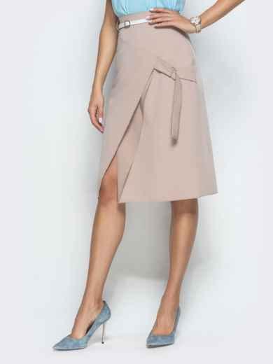 Бежевая юбка-трапеция с разрезом 38361, фото 1