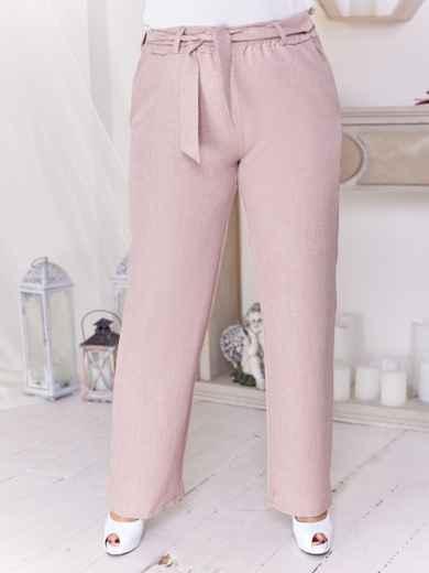 Бежевые брюки батал с завышенной талией 47647, фото 2