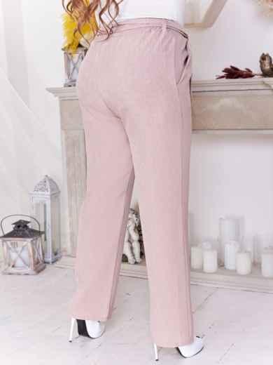 Бежевые брюки батал с завышенной талией 47647, фото 3