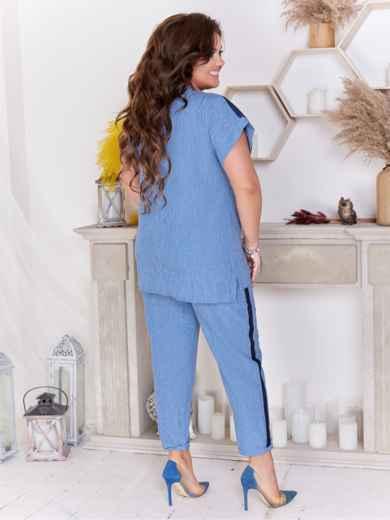 Брючный комплект большого размера с блузкой синий 47662, фото 2