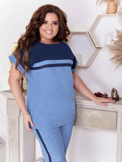 Брючный комплект большого размера с блузкой синий 47662, фото 3