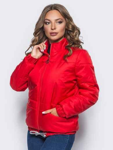 Красная куртка с карманами и кулиской по низу  - 15645, фото 1 – интернет-магазин Dressa