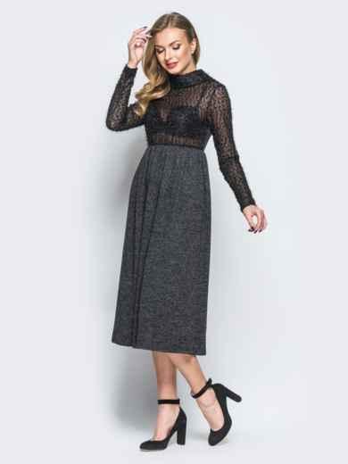 """Платье черного цвета с верхом из трикотажа """"травка"""" - 18141, фото 2 – интернет-магазин Dressa"""