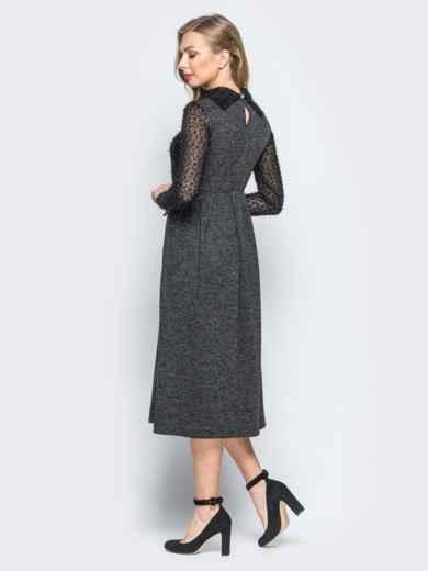 """Платье черного цвета с верхом из трикотажа """"травка"""" - 18141, фото 3 – интернет-магазин Dressa"""