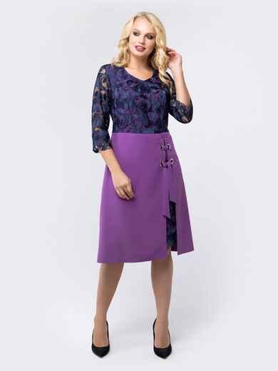 Платье фиолетового цвета с верхом из гипюра - 18467, фото 1 – интернет-магазин Dressa