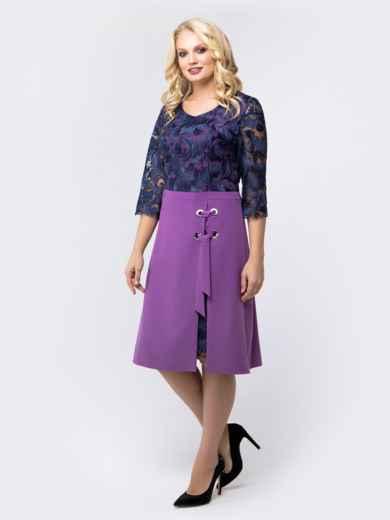 Платье фиолетового цвета с верхом из гипюра - 18467, фото 2 – интернет-магазин Dressa