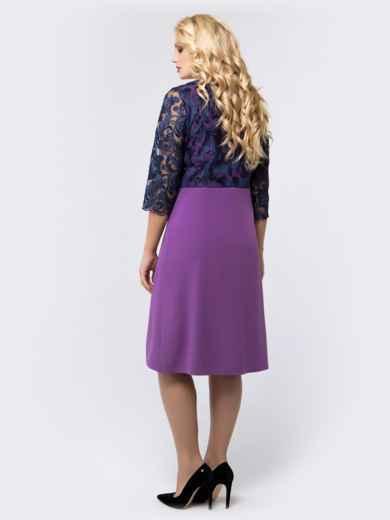 Платье фиолетового цвета с верхом из гипюра - 18467, фото 3 – интернет-магазин Dressa