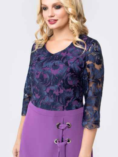 Платье фиолетового цвета с верхом из гипюра - 18467, фото 4 – интернет-магазин Dressa