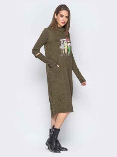 Платье с рукавами-митенками и аппликацией цвета хаки - 18196, фото 2 – интернет-магазин Dressa