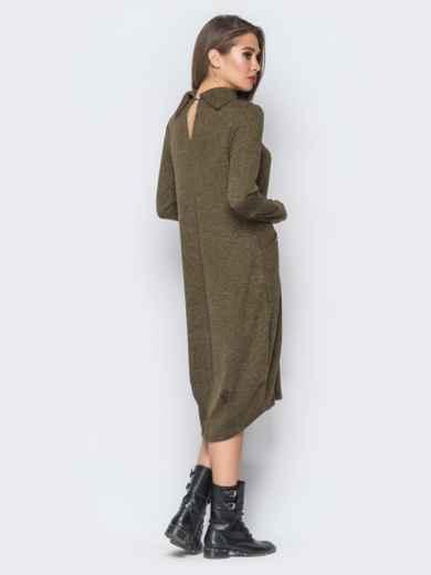 Платье с рукавами-митенками и аппликацией цвета хаки - 18196, фото 3 – интернет-магазин Dressa