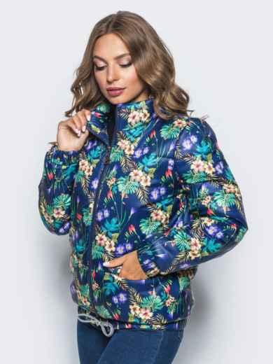 Принтованая куртка с карманами и кулиской по низу синяя - 15649, фото 2 – интернет-магазин Dressa