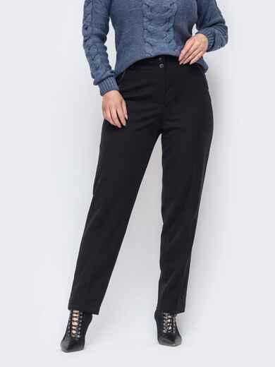 Прямые брюки большого размера чёрные 50912, фото 1