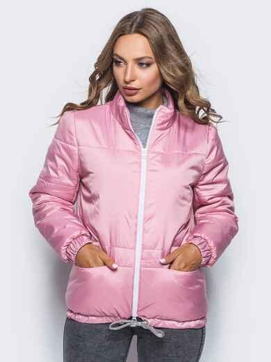 Розовая куртка с карманами и кулиской по низу  - 15646, фото 1 – интернет-магазин Dressa