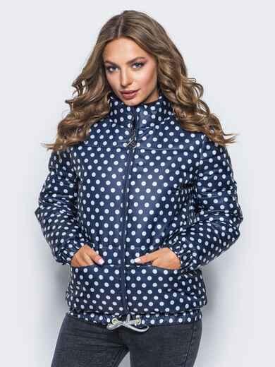 Синяя куртка в горох с карманами и кулиской по низу - 15647, фото 1 – интернет-магазин Dressa