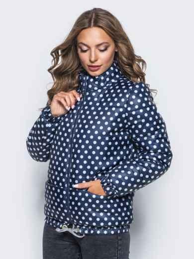Синяя куртка в горох с карманами и кулиской по низу - 15647, фото 2 – интернет-магазин Dressa