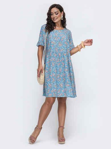 Свободное платье батал из штапеля с принтом голубое 49973, фото 1
