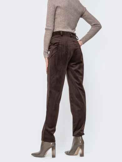 Вельветовые брюки со средней посадкой коричневые - 44825, фото 2 – интернет-магазин Dressa