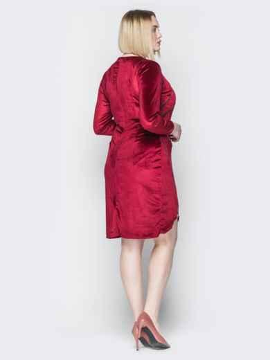 Велюровое платье с молниями и асимметричным низом красное 19956, фото 3